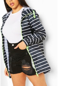 Plus Striped Hooded Raincoat, Navy