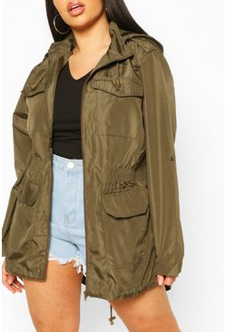 Plus Detachable Hood Parka, Khaki