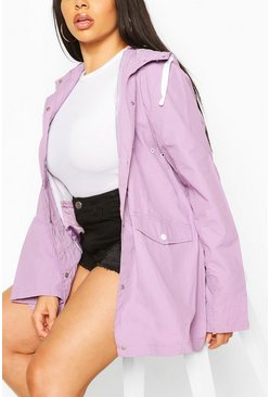 Lilac Plus Hooded Rain Mac