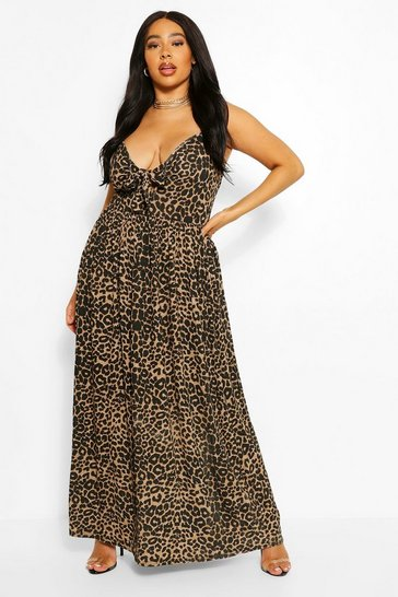 Brown Plus Leopard Strappy Knot Front Maxi Dress