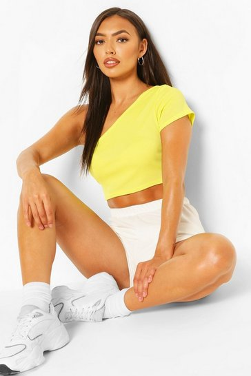 Lime Petite Rib One Shoulder Short Sleeve Crop Top