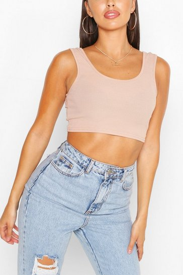 Stone Petite Rib Basic Sleeveless Crop Top