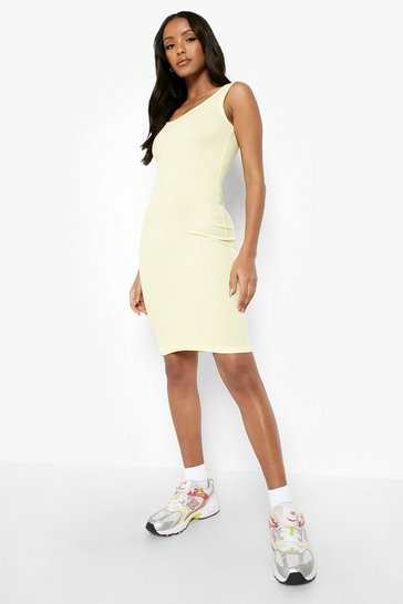 Lemon Petite Rib Scoop Back Midi Dress