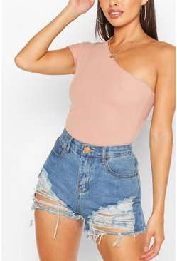 Stone Petite Rib One Shoulder Bodysuit