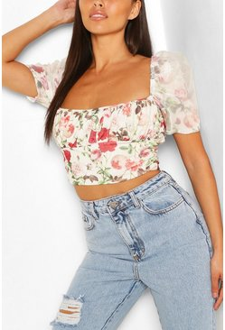 Petite Floral Organza Sleeve Top, White