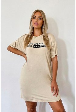 Stone Plus Still At Home Slogan T-Shirt Dress