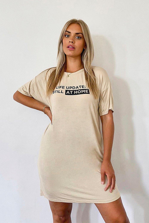 Plus Still At Home Slogan T-Shirt Dress 8