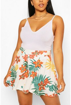 Green Plus Tropical Leaf Flippy Beach Short