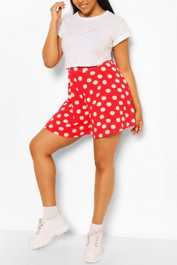 Red Plus Floral Flippy Beach Short
