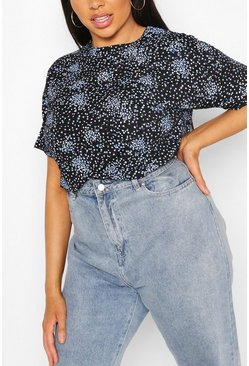 Black Plus Ditsy Floral Oversized T-Shirt