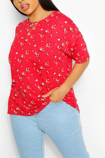 Red Plus Ditsy Floral Oversized T-Shirt