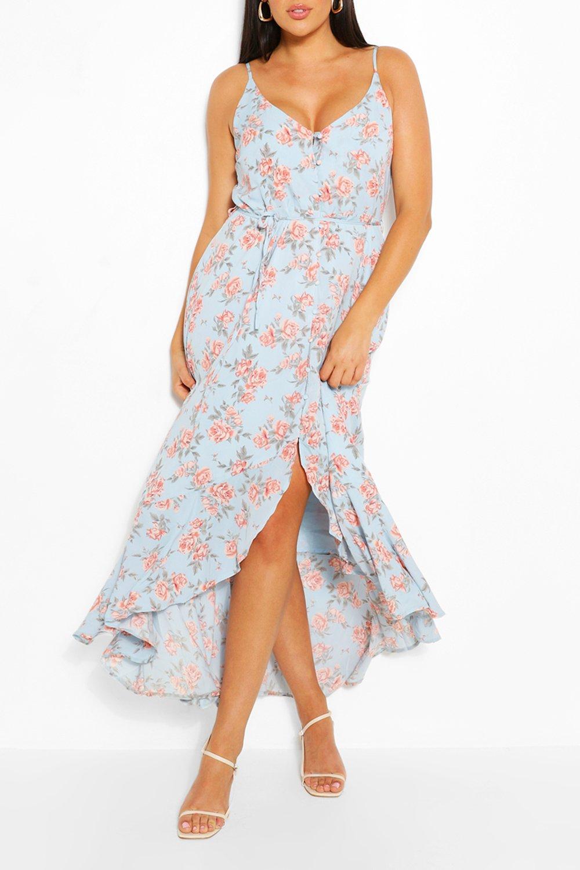 Plus Floral Ruffle Tie Waist Maxi Dress 7