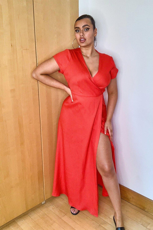 Plus Woven Wrap Front Maxi Dress 8