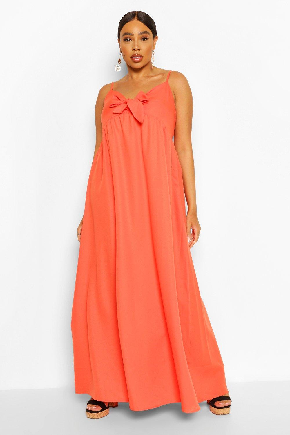 Plus Tie Front Strappy Maxi Dress 8