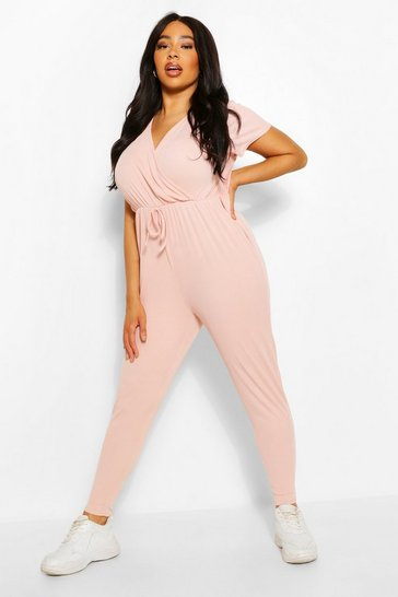 Pink Plus Rib Wrap Jersey Jumpsuit