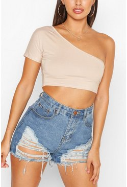 Petite One Shoulder Crop Top, Stone