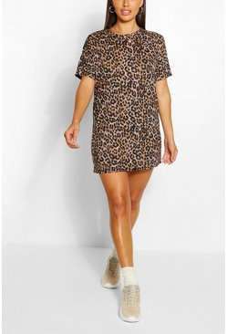 Petite Leopard Print T-Shirt Dress, Brown