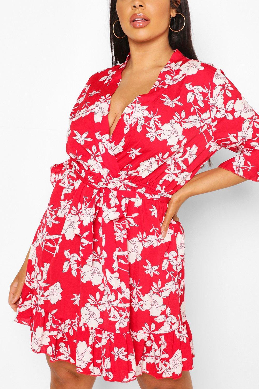 Plus Floral Ruffle Wrap Skater Dress 8