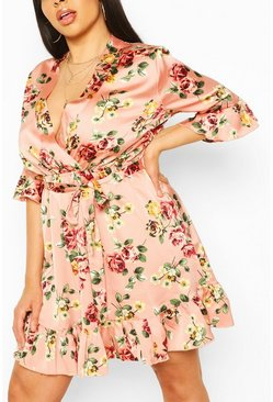 Plus Floral Ruffle Wrap Satin Skater Dress, Rose