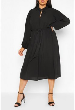 Plus Ruffle High Neck Smock Midi Dress, Black