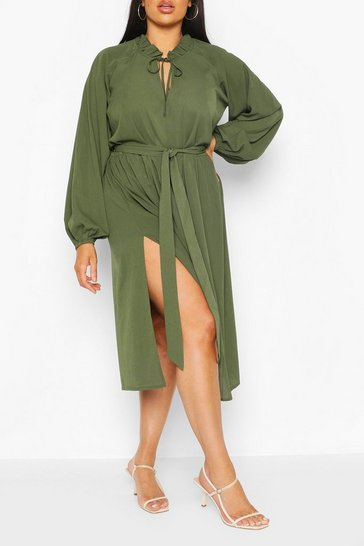 Khaki Plus Ruffle High Neck Smock Midi Dress