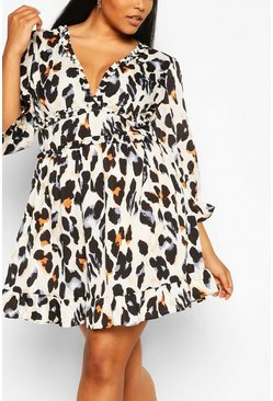 Black Plus Multi Leopard Print Satin Ruffle Skater Dress