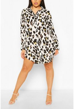 Black Plus Multi Leopard Print Satin Shirt Dress