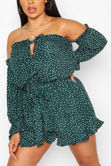 Green Plus Polka Dot Bardot Ruffle Playsuit