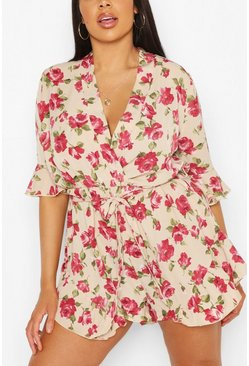 Ivory Plus Rose Floral Ruffle Tie Playsuit