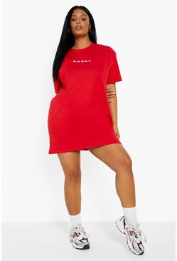 Plus Honey Oversized T-Shirt Dress, Red