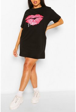 Black Plus J'Adore Lips T-Shirt Dress