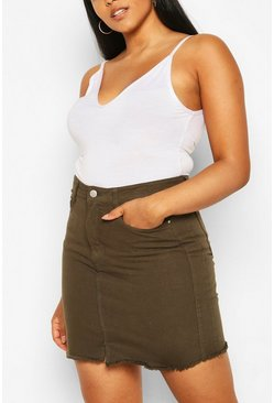 Plus Denim Mini Skirt , Khaki