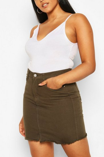 Khaki Plus Denim Mini Skirt