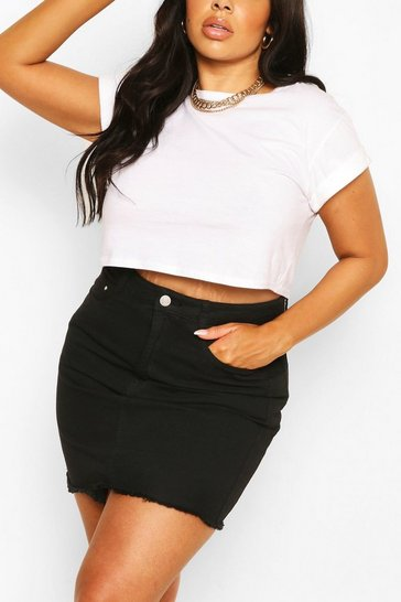 Black Plus Denim Mini Skirt