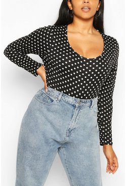 Plus Square Neck Polka Dot Bodysuit , Black