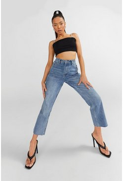 Blue Petite High Rise Straight Leg Jeans