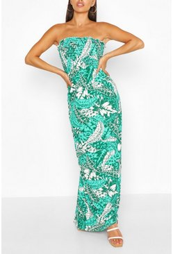 Petite Palm Print Tie Strap Maxi Dress, Green