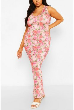 Plus Floral Scoop Neck Slinky Maxi Dress, Pink