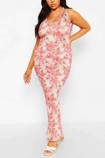 Pink Plus Floral Scoop Neck Slinky Maxi Dress