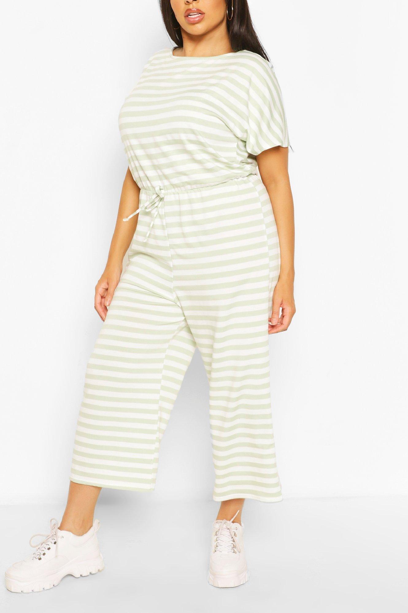 Plus Striped Loopback Wide Leg Jumpsuit 6