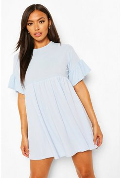 Blue Petite Rib Frill Hem Smock Dress