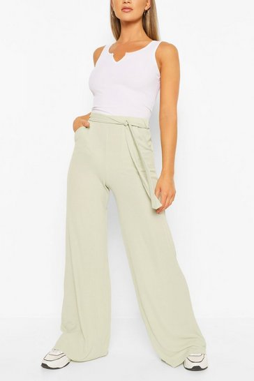 Sage Petite Rib Belted Wide Leg Trouser