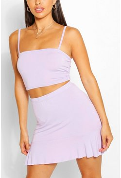 Lilac Petite Square Neck Top And Frill Hem Skirt Co-ord