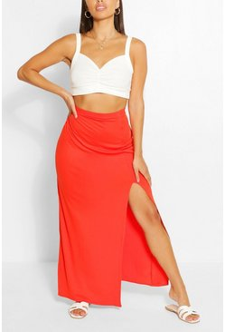 Petite Split Detail Maxi Skirt , Rust