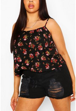 Plus Ditsy Floral Swing Cami, Black