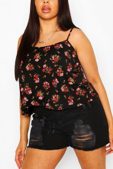 Black Plus Ditsy Floral Swing Cami