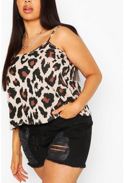 Plus Leopard Print Swing Cami, Brown