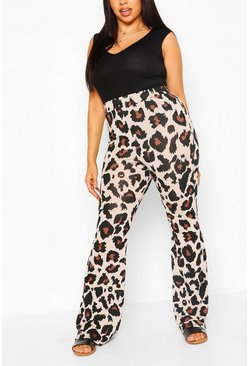 Brown Plus Leopard Print Skinny Flared Trousers