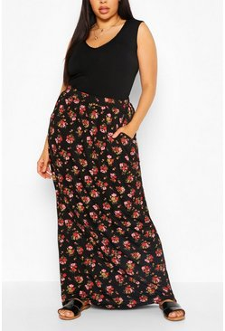 Plus Ditsy Floral Maxi Skirt, Black