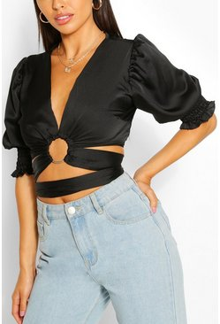 Black Petite O-Ring Detail Volume Sleeve Crop Top